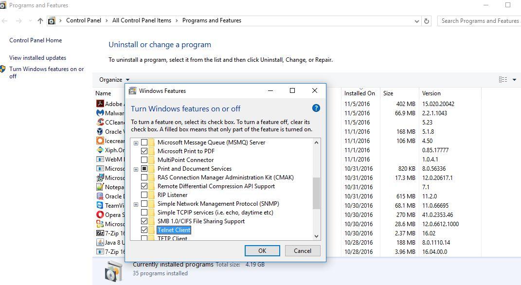 How to enable telnet in windows 10