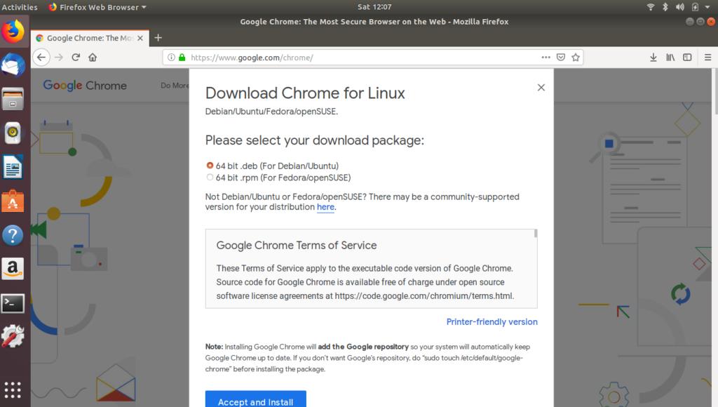 Google Chrome Accept & Install on Ubuntu