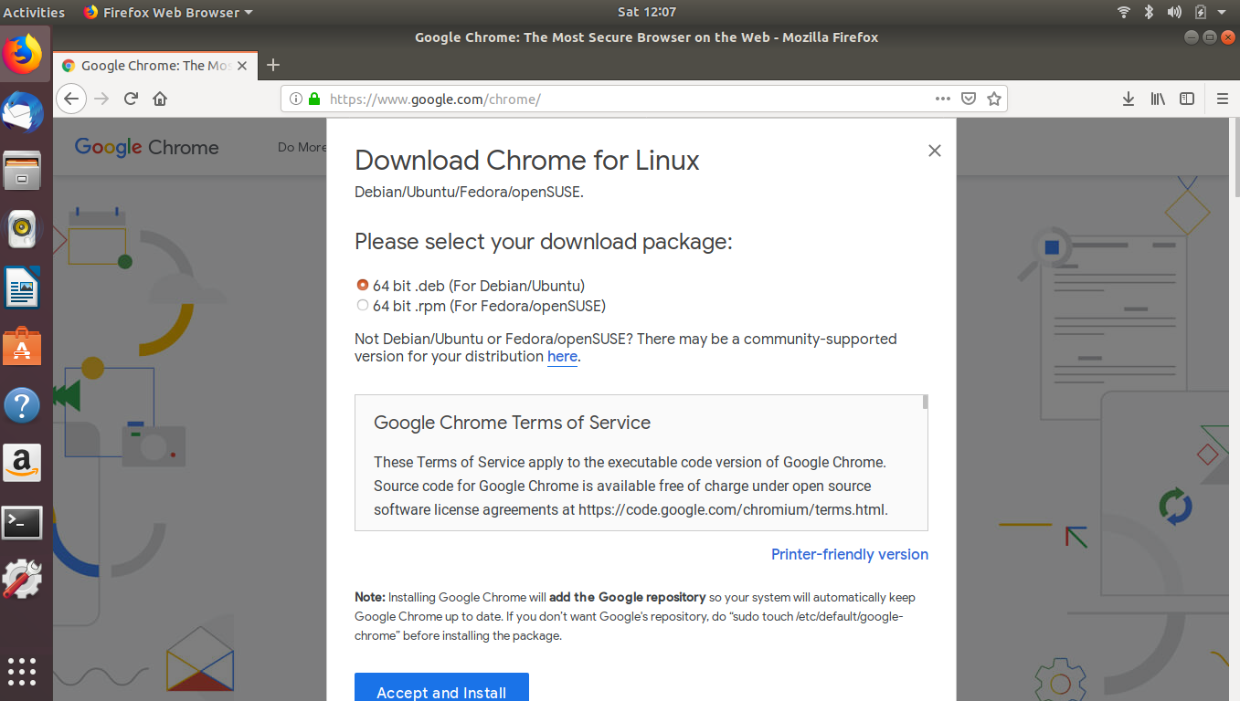 Google Chrome Accept & Install on Ubuntu - Narayana Tutorial