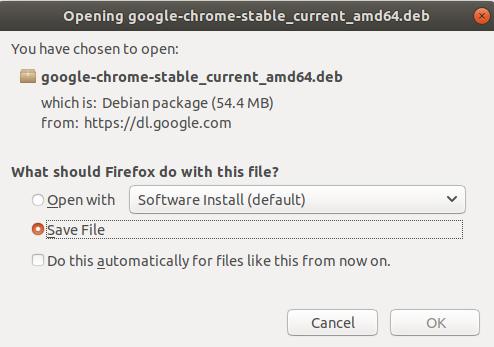 Google Chrome Download & Save on Ubuntu