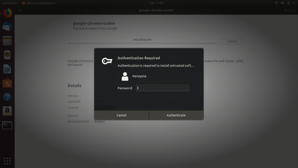 Google Chrome installation Authentication  Ubuntu