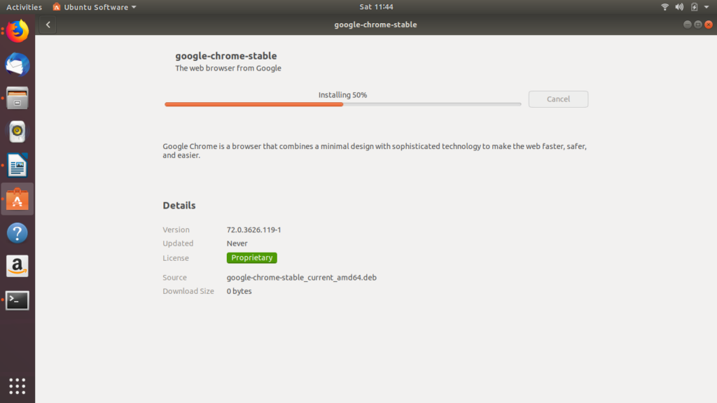 Google Chrome installation Status  Ubuntu