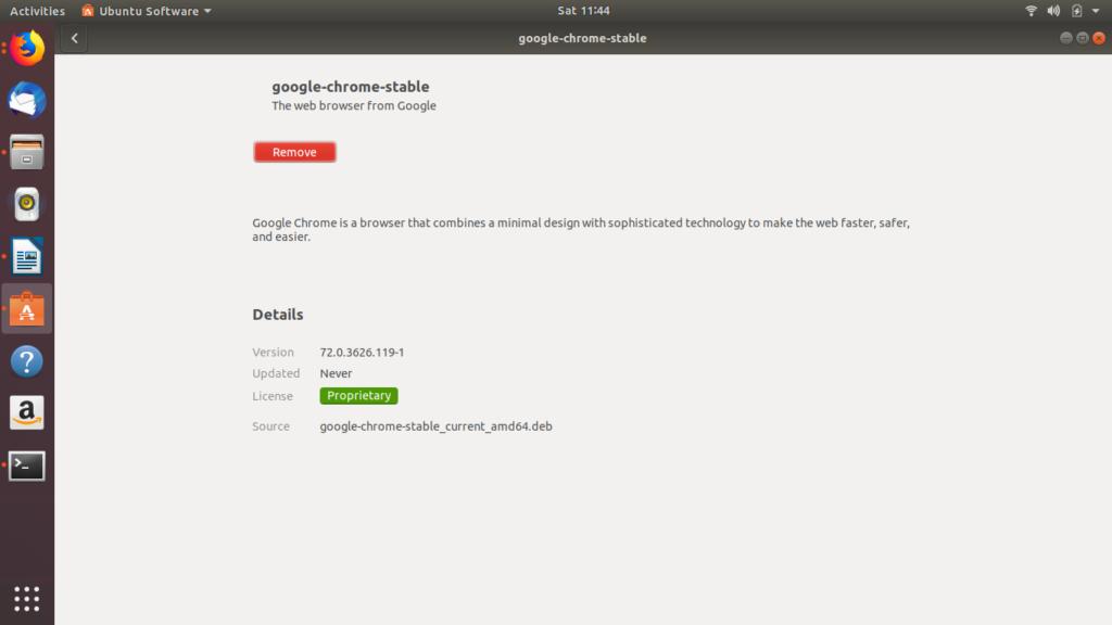 Google Chrome installation Complete Ubuntu