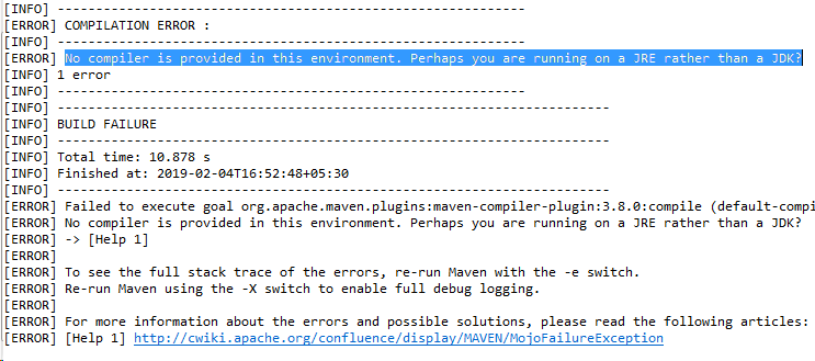 No compiler is provided in this environment. Perhaps you are running on a JRE rather than a JDK?