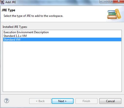 Add JRE - JRE Type Eclipse