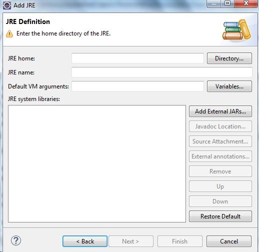 Add JRE - JRE Definition Eclipse