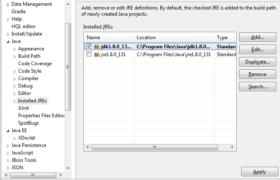 Installed JRE - JDK Selection Eclipse