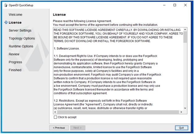 OpenDJ Installation Licence