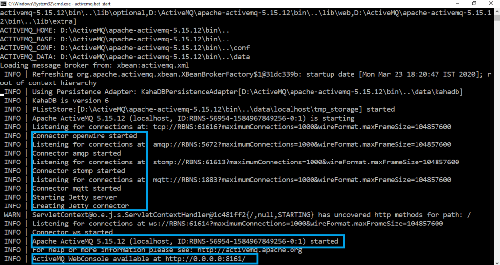 ActiveMQ Start Windows Console