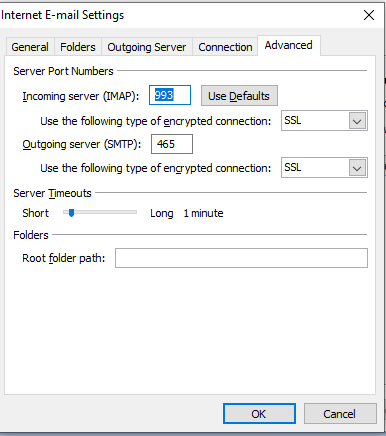 Gmail Ports Configuration in Outlook