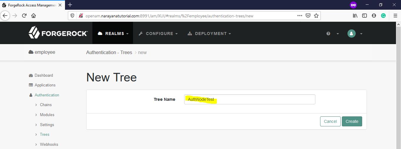 OpenAM-Tree-Name-Create